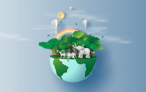 a computer illustration showing Earth with trees, rainbows, and animals on it